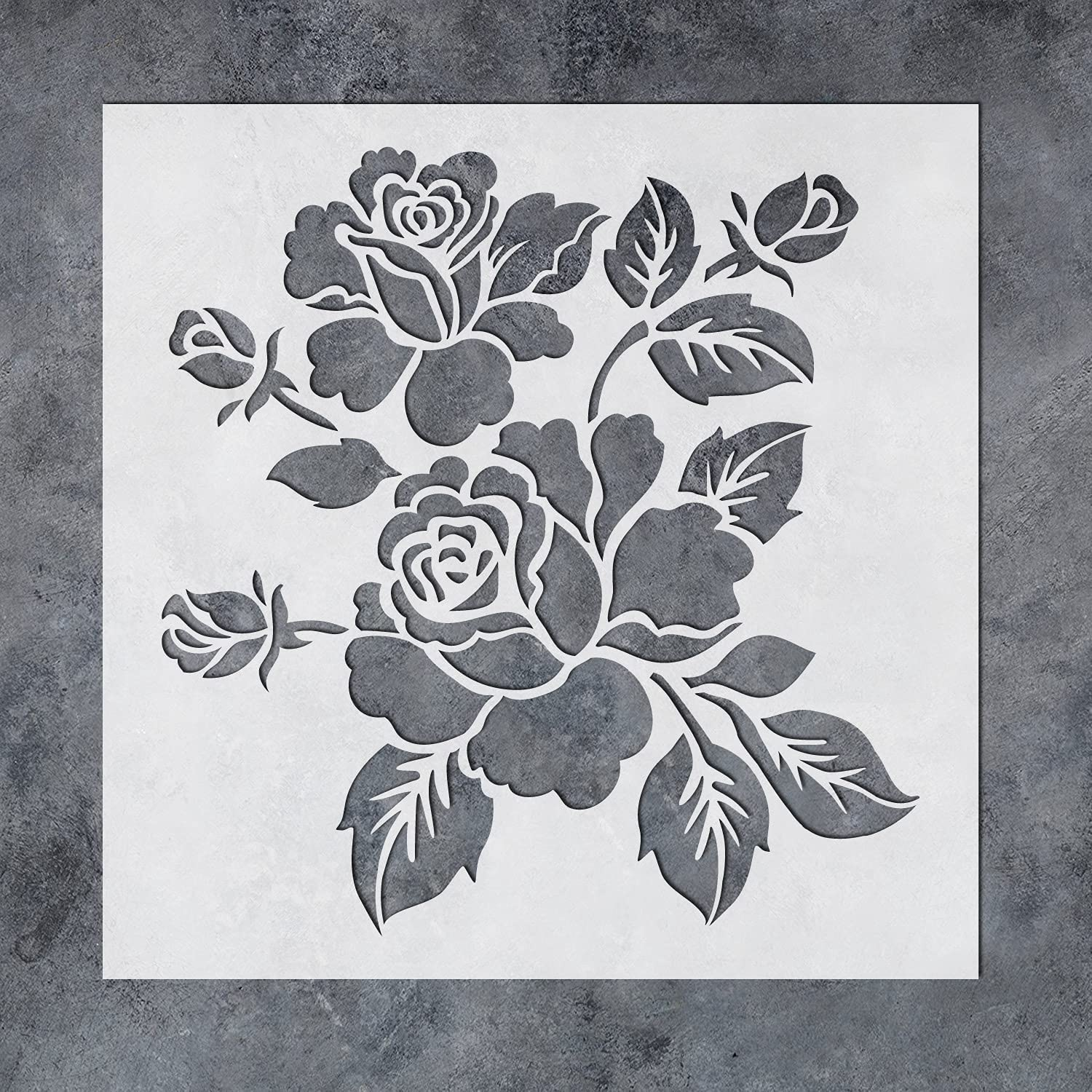 GSS Designs Bloom Rose Stencils for Painting Wood Canvas Paper Fabric Walls Furniture - Reusable Flower Stencils - Floral Paint Stencils Set for Home Decor 12x12 Inch