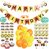 Construction Birthday Party Supplies, 1 Set Vehicle Happy Birthday Banner include Excavator Bulldozer Truck, 24 balloons, 100yard ribbon, 24 cupcake toppers, 6packs dessert and candy stickers(1 pack including 11 pcs stickers)