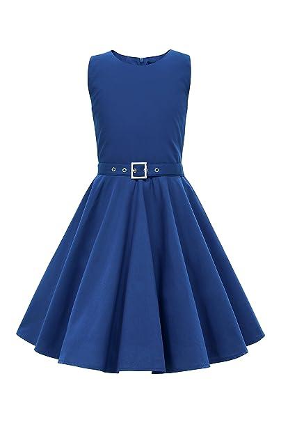 BlackButterfly Niñas Audrey Vestido Vintage Años 50 Clarity (Azul Cobalto, 3-