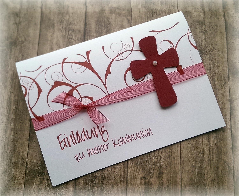Einladung einladungskarte kommunion konfirmation firmung taufe kreuz dunkelrot bordeaux weinrot rot amazon de handmade
