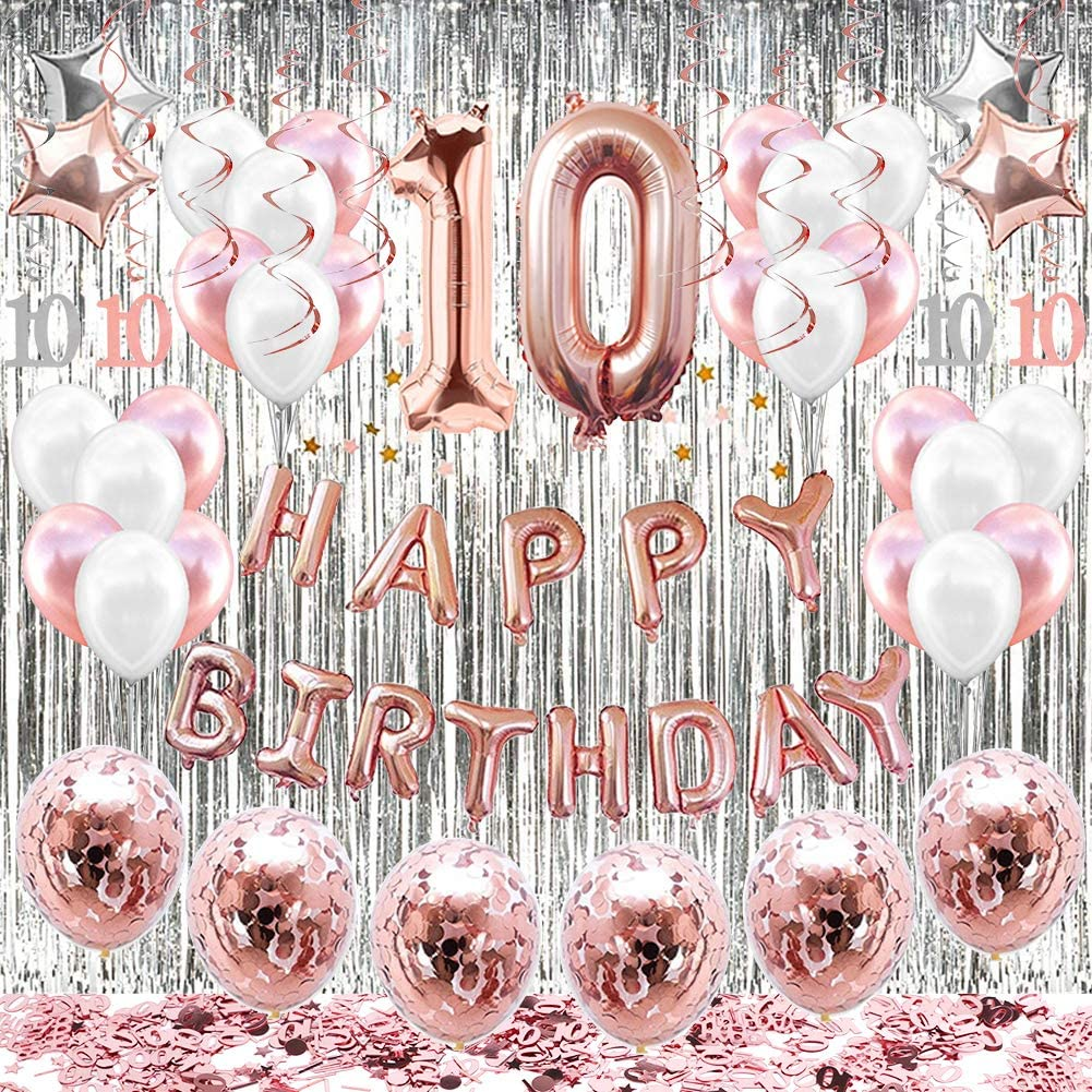 60 Pieces Double Digits 10th Latex Birthday Balloons Birthday Party Balloons for 10th Birthday Party Supplies