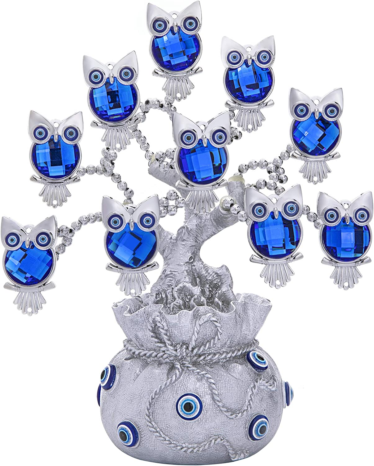 YU FENG Owl Figurines Decorations Turkish Evil Eye Tree with Silver Lucky Bag for Home Decor Good Luck Protection Gift