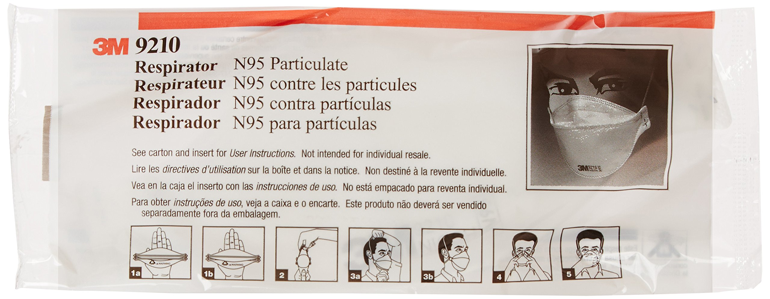 3M 3MR9210 N95 Particulate Disposable Respirator with 3 Panel, Flat Fold, NIOSH 42CFR84 Standard (Pack of 20)