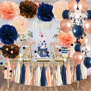 Navy Rose Gold Birthday Decorations for Women by Qian's Party /Navy Champagne Bridal Shower Decorations Champagne Peach Glitter Gold Wedding /Navy Rose Gold Confetti Ballons/Rose Gold Bachelorette Party Decorations
