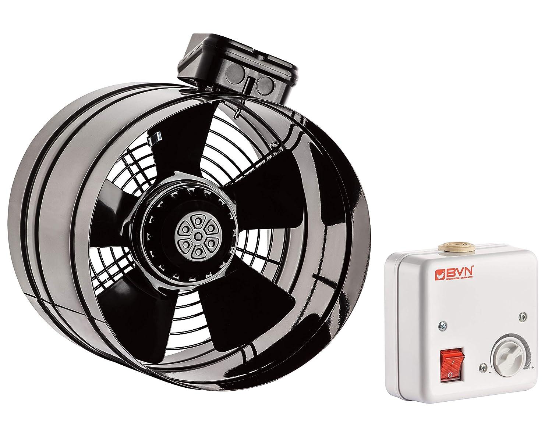 Axial Rohrventilator TURBO Be-Abluft L/üfter Axialventilator Radial /ø250 1500m/³//h inklusive Drehzahlregler