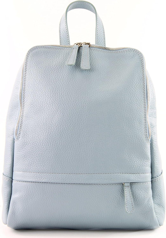 modamoda de - ital Damenrucksack bolsa de cuero T138 Azul Hielo iNbvFGLD