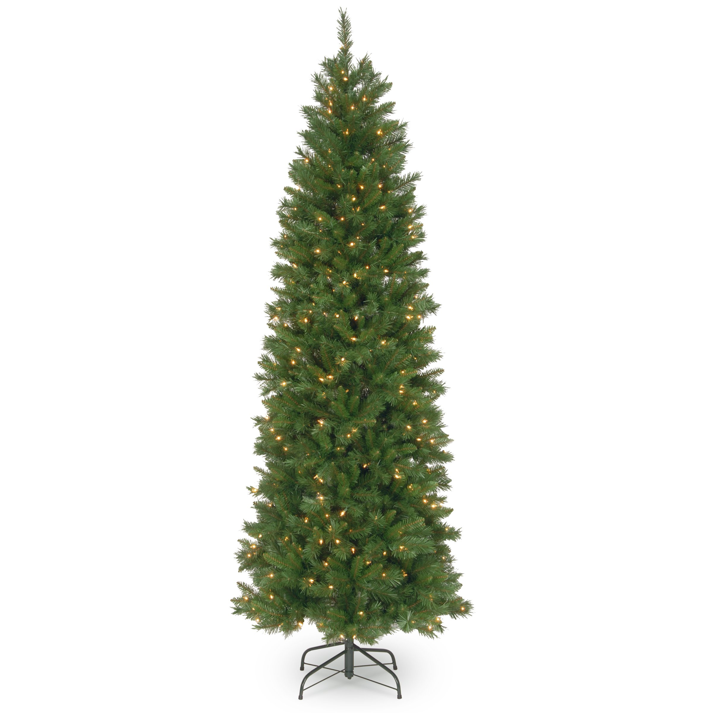 National Tree 7.5 Foot Pennington Fir Pencil Tree with 350 Clear Lights, Hinged (PNG7-300-75)
