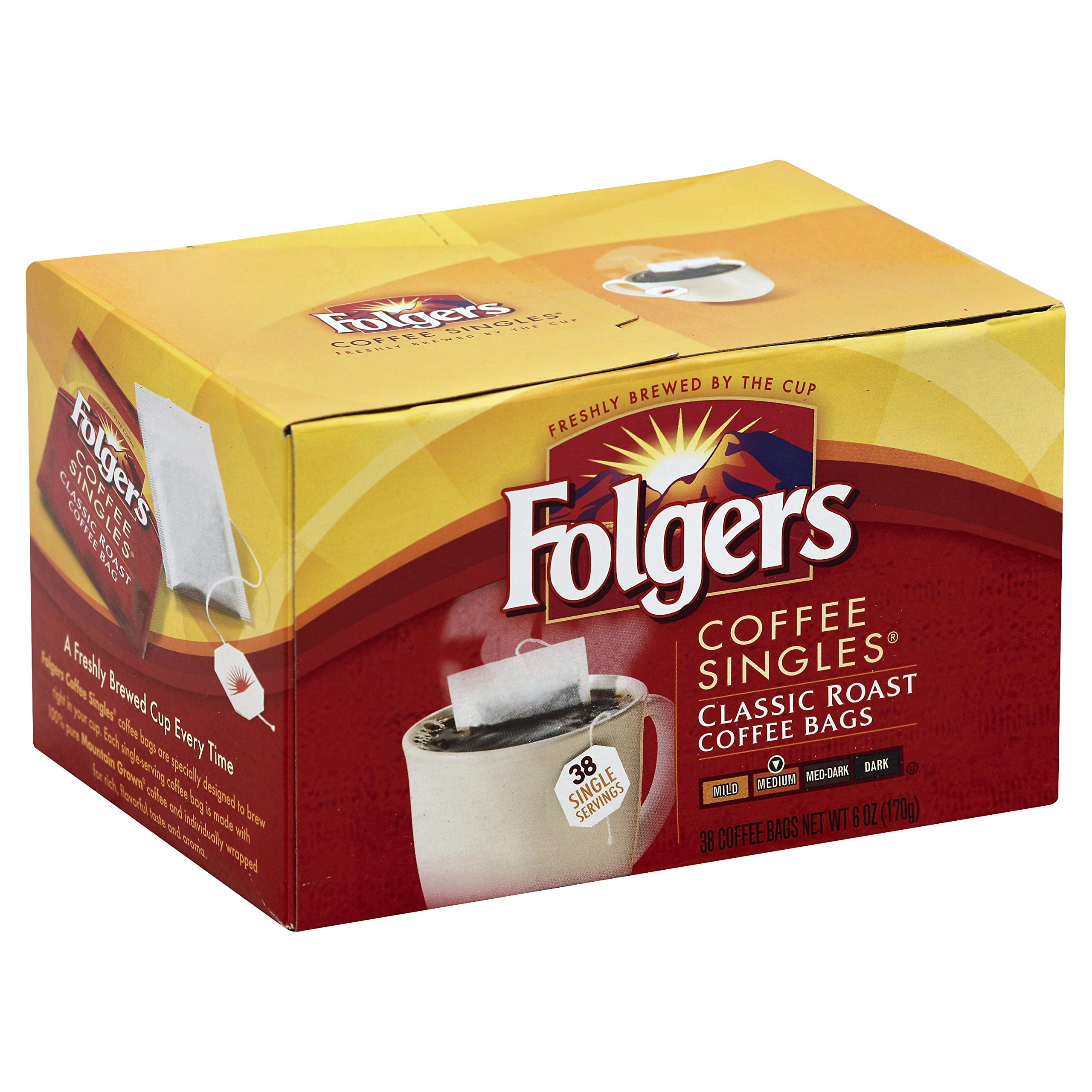 Folgers Classic Roast Ground Coffee Singles, Classic, 6 Count