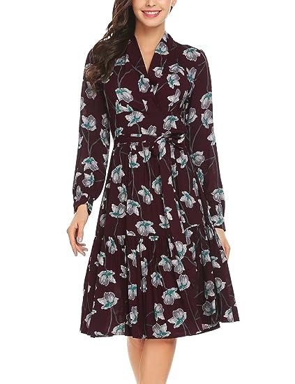 Zeagoo Women Vintage V Neck Long Sleeve Floral A-line Party Dress Black