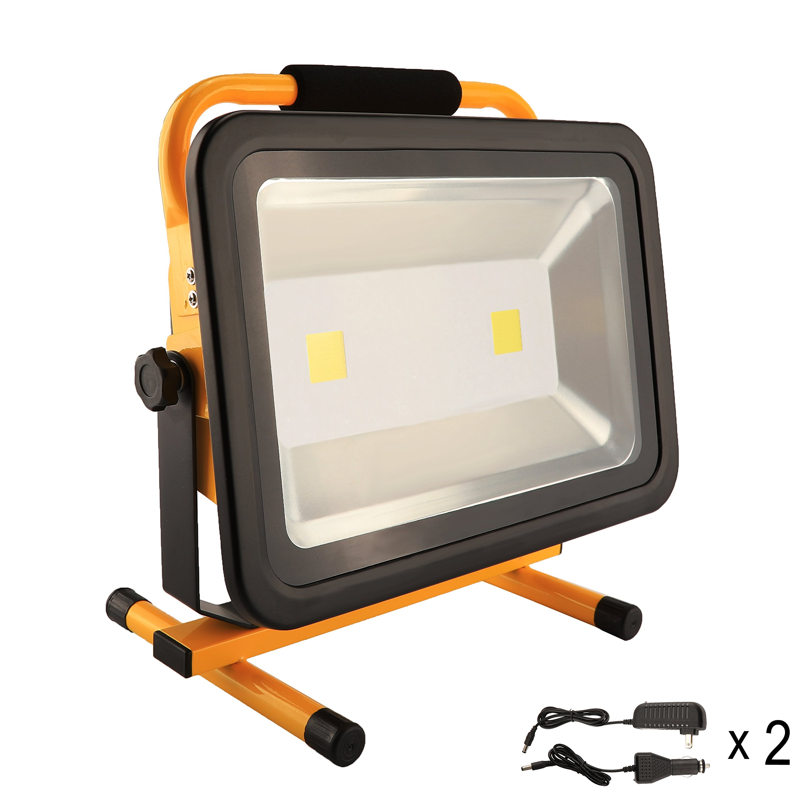 100W LED Work Light Rechargeable Portable Flood Light Battery Powered Flood Light for Outdoor Lighting,Camping,Hiking,Fishing,Car Repairing,Construction Site,8 HRS Running Time
