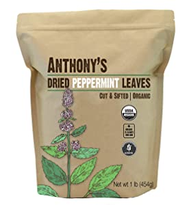 Anthony's Organic Peppermint Leaves, 1 lb, Gluten Free, Non GMO, Cut & Sifted, Non Irradiated, Keto Friendly