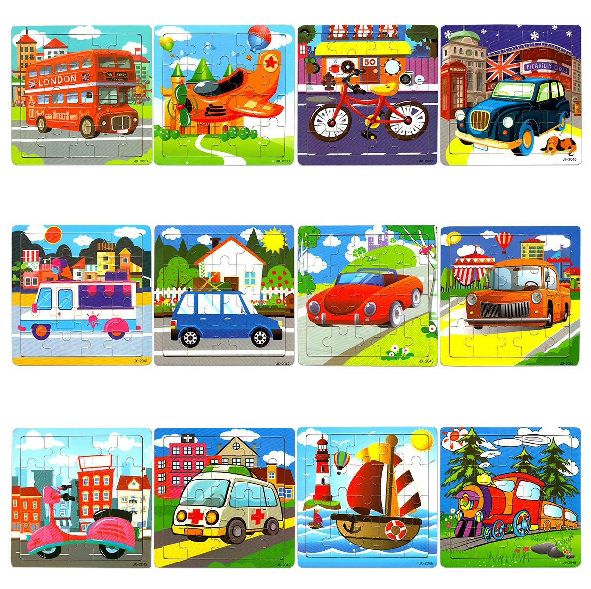 """Vileafy Puzzle Party Favors for Kids 5 3//4/"""" x 5 3//4/"""" Per Pack Popular Bulk Puzzles Among Children 12-Pack with Individual Storage Tray /& Organza Bag"""