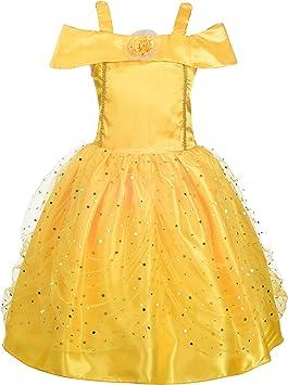 Oferta amazon: Lito Angels Disfraz de Princesa Belle para niña Fiesta de Disfraces de Halloween Vestidos de Cumple años Talla 7-8 años 229