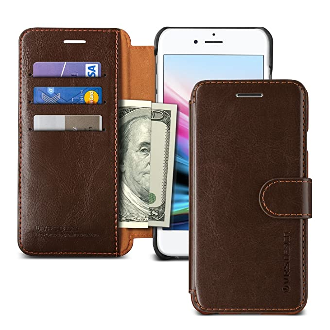 on sale d7ce5 0275b iPhone 8 Case, VRS DESIGN Drop Protection Cover Classy Slim Premium PU  Leather Wallet [Dark Brown] ID Credit Card Slot Holder for Apple iPhone 8  ...