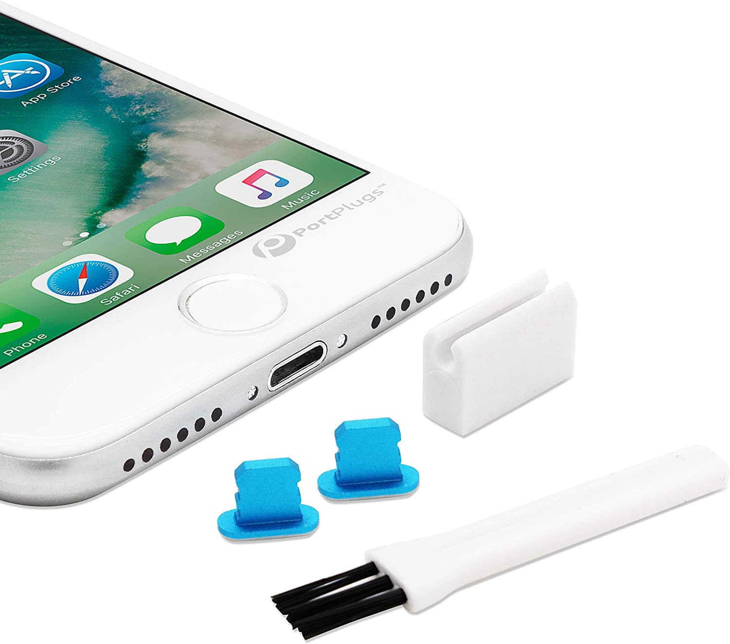 PortPlugs Dust Plugs (2 Pack) Aluminum, Compatible with iPhone 12, 11, X, XS, XR, 8, 7, Plus, Max, Pro, Includes Plug Holder and Cleaning Brush (Blue)