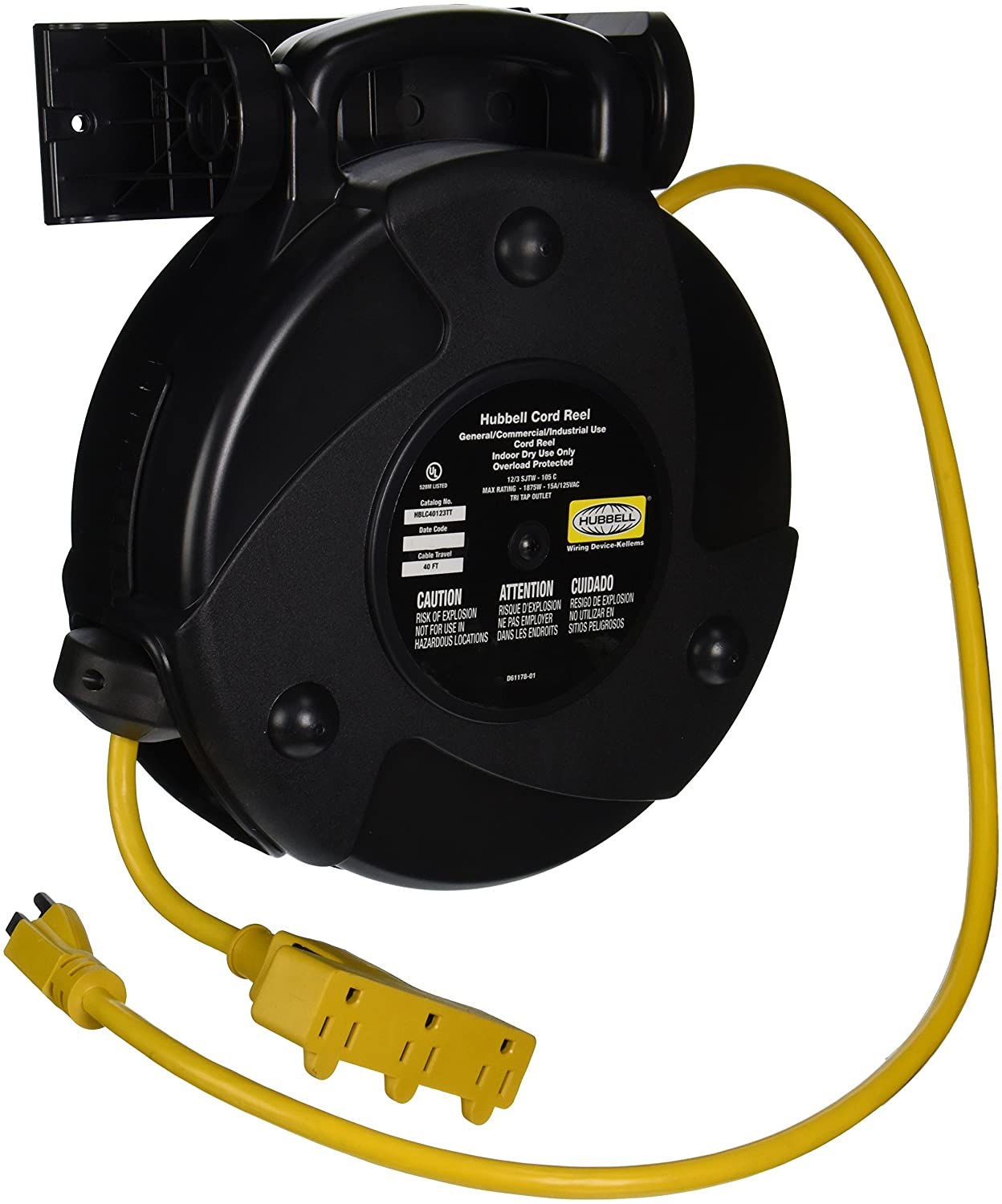 Hubbell Wiring Systems Hblc40123tt Commercial Cord Reel With Triple And Industrial Tap Outlet 40 Cable Length 12 3 Sjtw Type 1875w 15 Amp 125vac