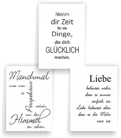 Greenluup 3er Set Poster Spruch A4 Sprüche Liebe Glück Motivation Schwarz Weiß Wandbild P10 Bilder Sprüche Wandbild Modern