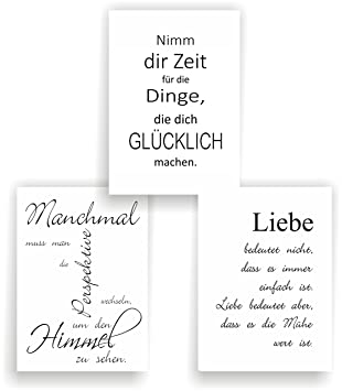 Attirant Greenluup 3er Set Poster Spruch A4 Sprüche Liebe Glück Motivation Schwarz  Weiß Wandbild (P10)