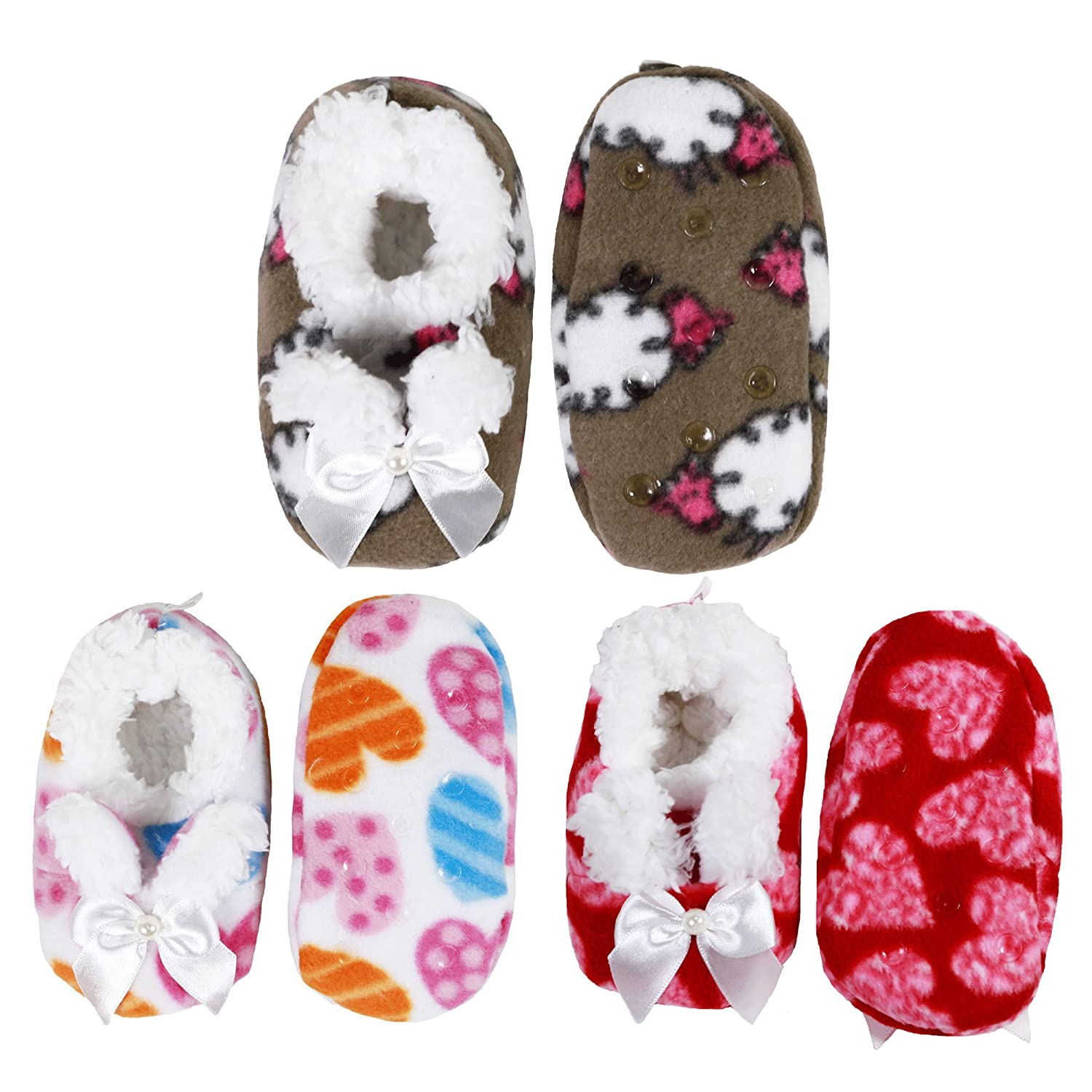 Infants Toddler Soft Warm Plush Cozy Fuzzy Cartoon Animal Slippers Booties Socks Shoes