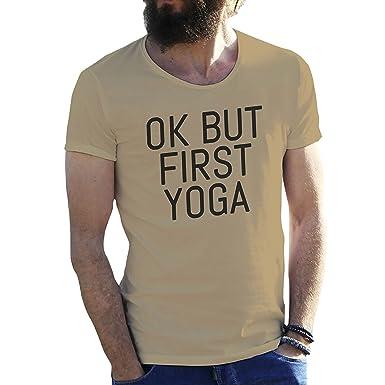 Ok But First Yoga Camiseta para Hombre: Amazon.es: Ropa y ...