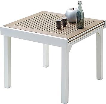 Table de jardin carrée extensible aluminium blanc et polywood L90 ...