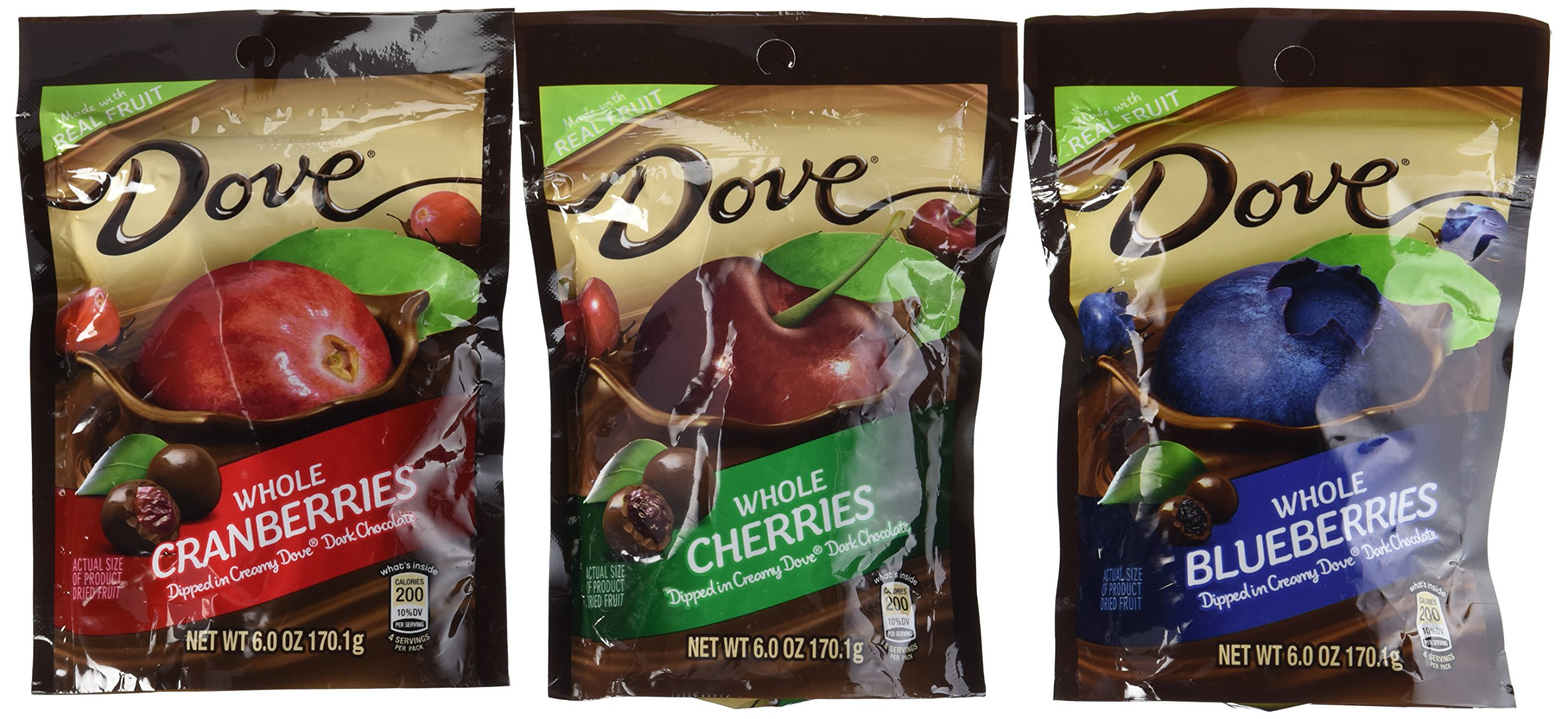Dove Whole Cherries, Whole Blueberries and Whole Cranberries Dipped in Creamy Dove Dark Chocolate 6 Oz (Pack of 3) by Dove