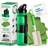 Greengo Smart Solutions Collapsible Silicone Water Bottle Set - for Hiking, Travel and Running - BPA Free Reusable Eco Friendly- Bonus Cooling Towel and Sponge Brush