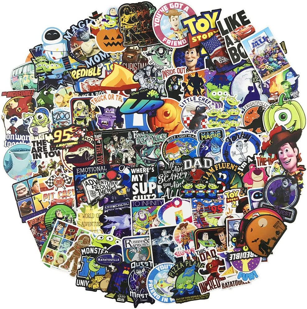 Cartoon Laptop Stickers for Kids|100 Pack|, Cool Teen Children Girls Halloween Gift, Water Bottle Travel Case Computer Toy Skateboard Motorcycle Phone Bicycle Luggage Guitar Bike Vinyl Decal(Pixar)