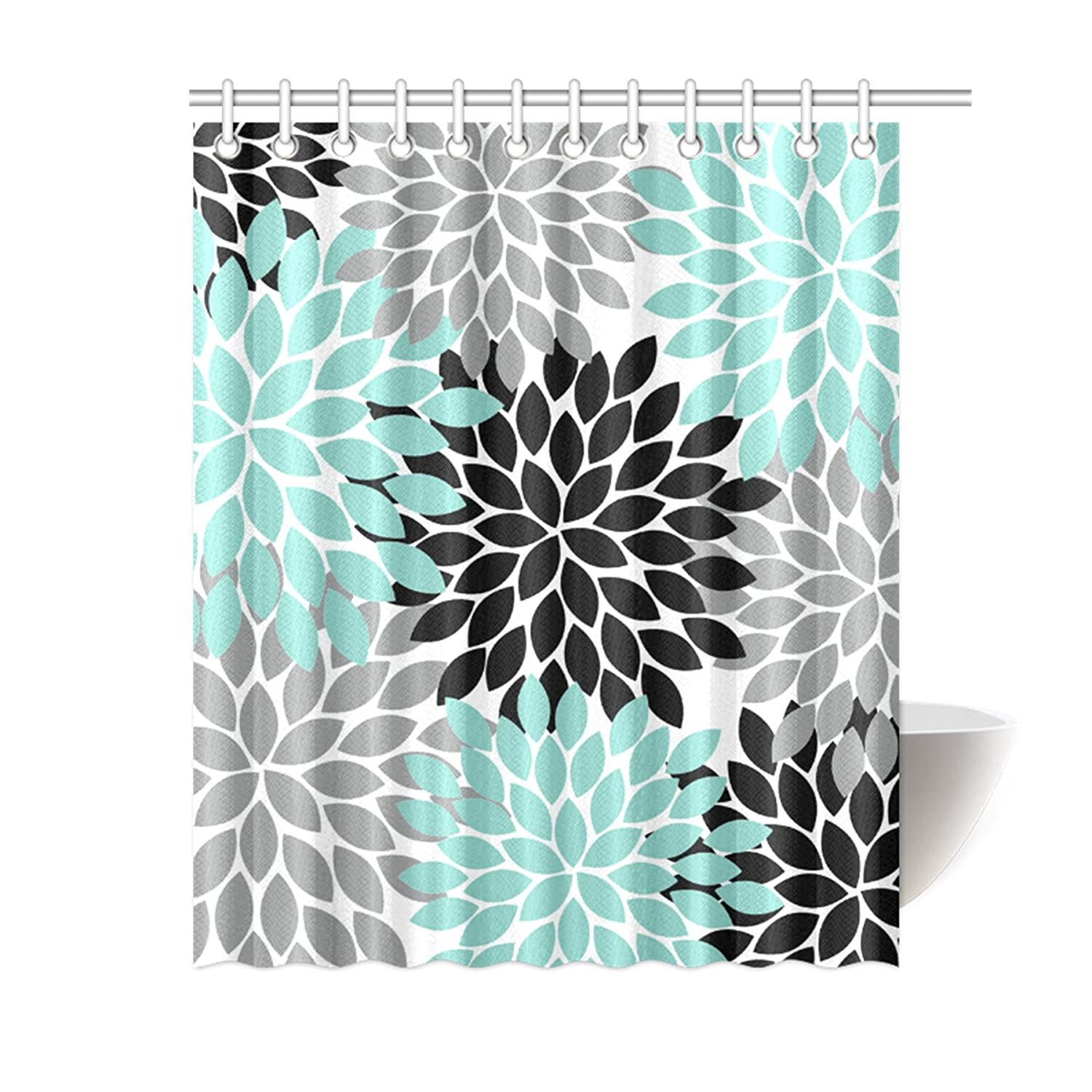 Amazon.com: WECE Black Grey Green Dahlia Floral Pattern Polyester  Waterproof Shower Curtains 60 X 72 By Flower Shower Curtains: Home U0026 Kitchen
