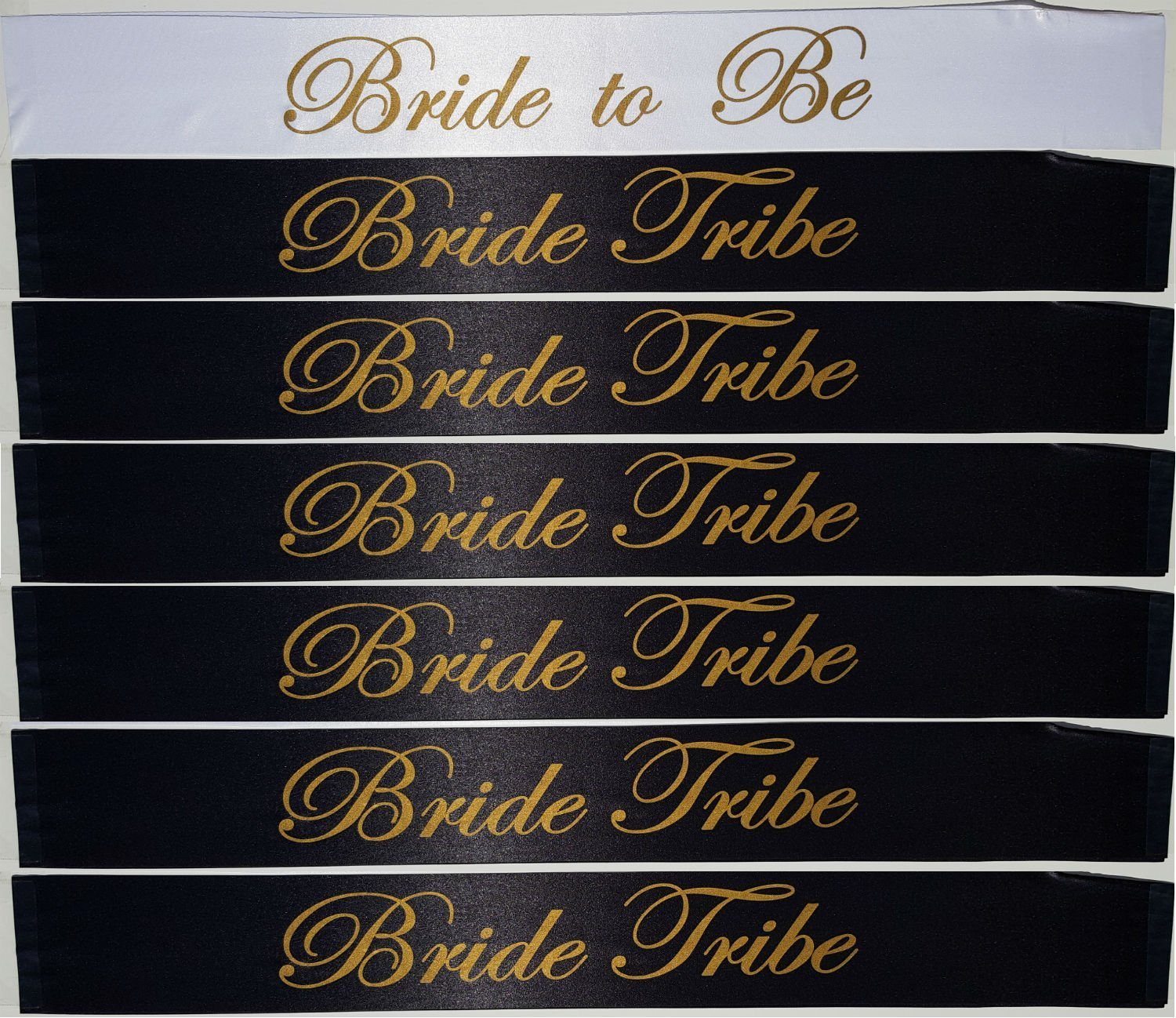 [CBC Brand] 7 Piece Bachelorette Party Sash Set: 6 x Bride Tribe in Gold Letters on Black, 1 x Bride to BE in Gold Letters on White (Party Favors for Hen Party, Bridal Shower & Wedding Decorations)