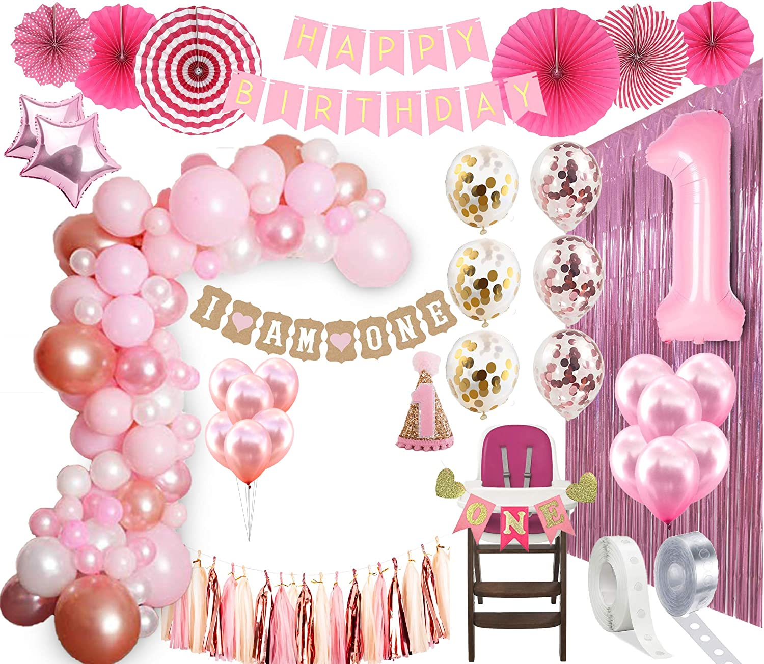 1st BIRTHDAY GIRL DECORATIONS  Balloon Arch Kit 1st Birthday Party  Supplies  Rose Gold Party Decorations   Rose Gold Confetti Balloons   Happy  First ...