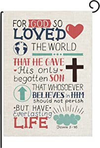pingpi Christian Bible Verse Garden Flag Vertical Double Sided John 3:16 for God So Loved The World Flag Yard Outdoor Decoration 12.5 x 18 Inch