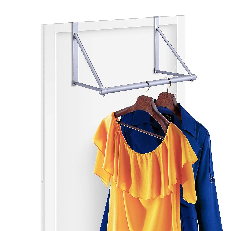 Simple Trending Over The Door Closet Rod Hanger with Door Hook, Clothes Garment Organizer Rack for Hanging Clothes, Metal, Silver
