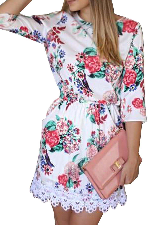 CRAVOG Damen Sommerkleid Strandkleid Minikleid Blumenspitze Kurz Kleid