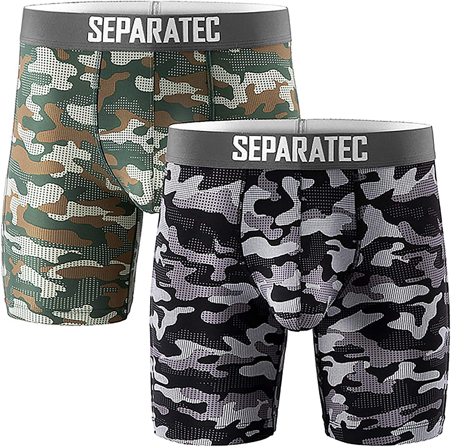 Separatec Men's Underwear Dual Pouch Sport Quick Dry 8'' Camo Boxer Briefs 2 Pack