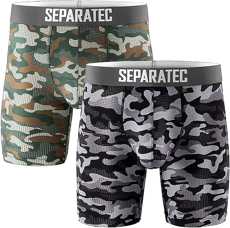 Separatec Men's Underwear Dual Pouch Sport Quick Dry 8'' Camo Boxer Briefs 2 Pack