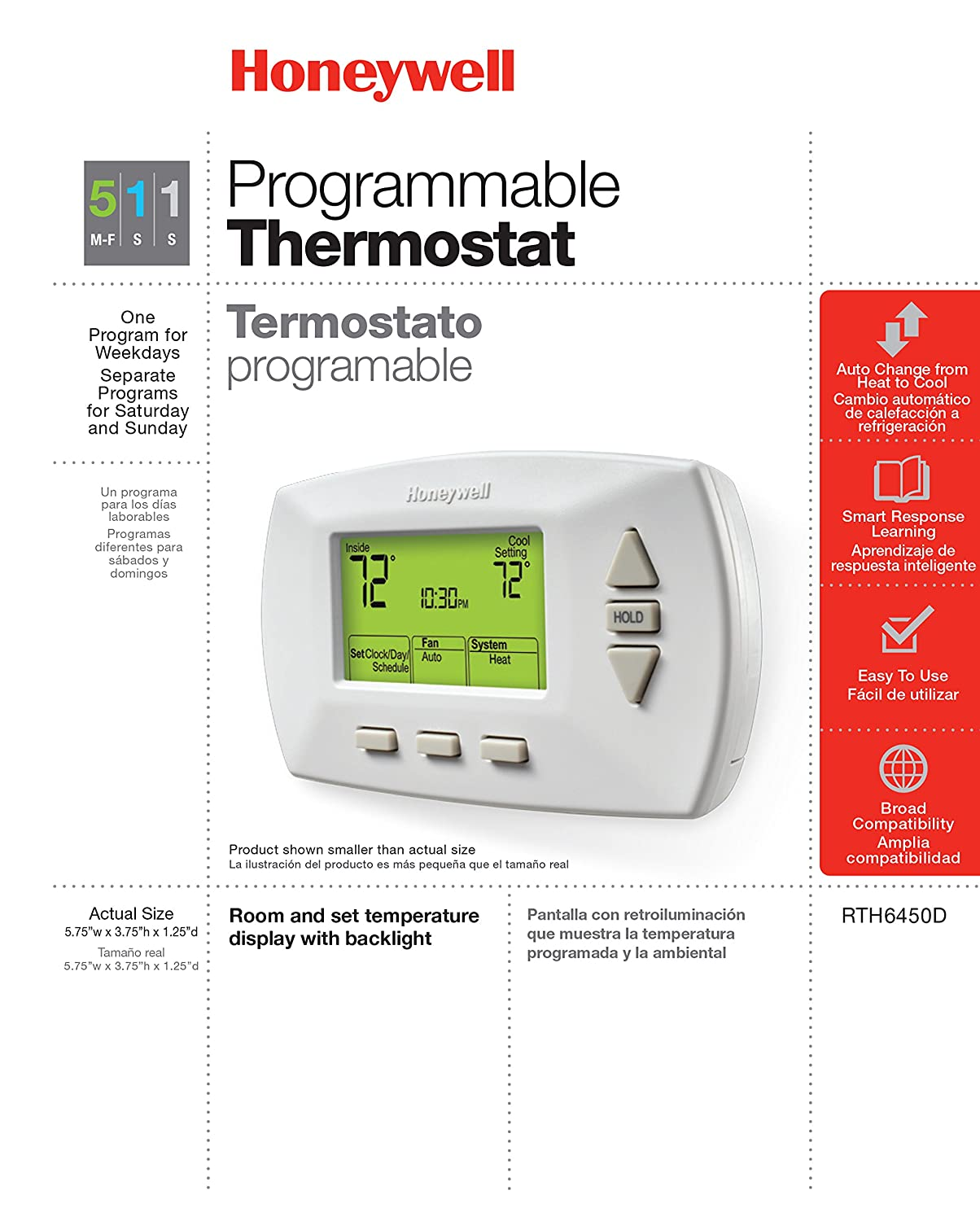 Honeywell RTH6450D1009//E1 RTH6450D1009 5-1-1-Day Programmable Thermostat White