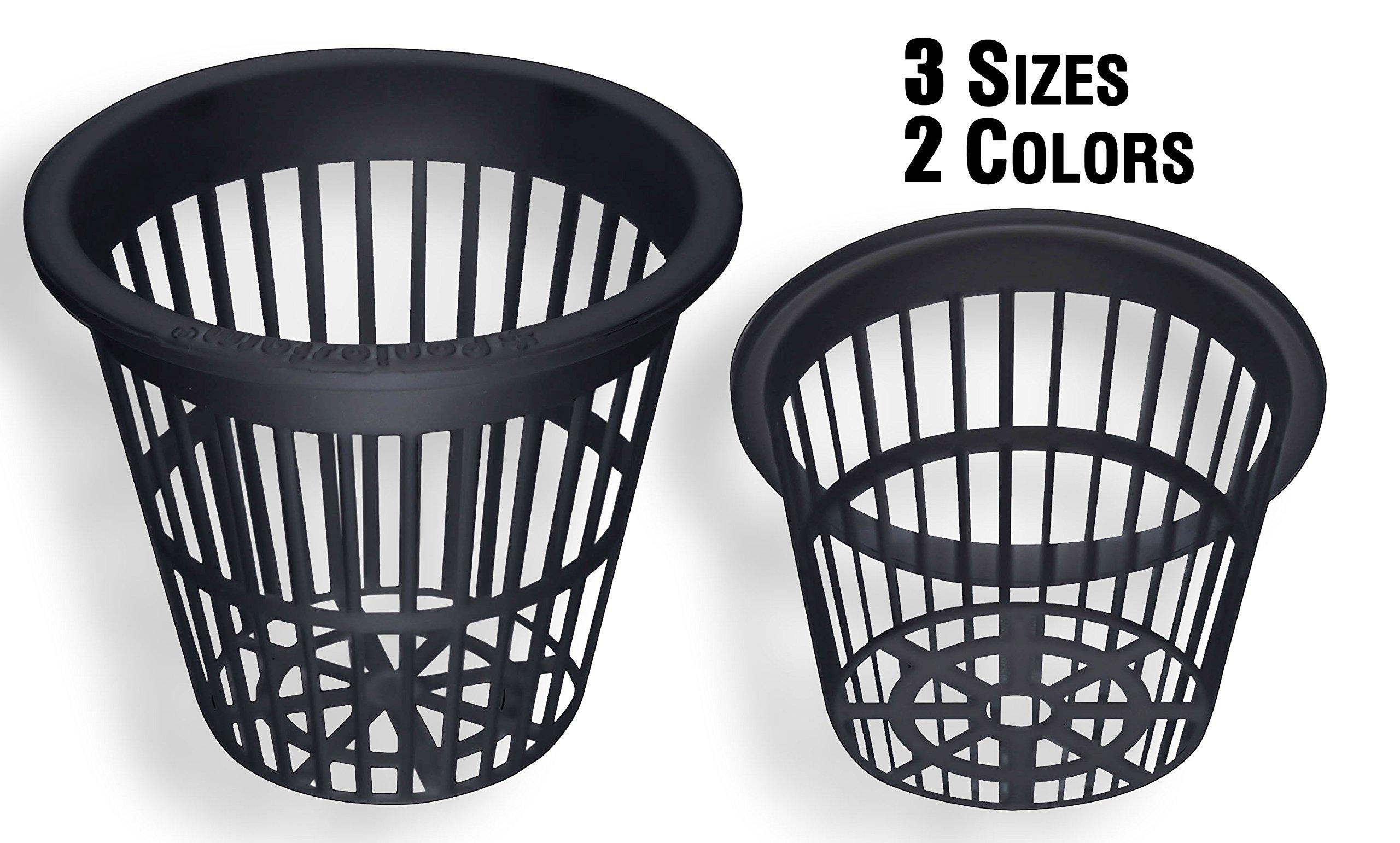 NP3CB: 3 Inch Black Slotted Mesh Net Pot for Hydroponics/Aquaponics/Orchids - 300 Carton