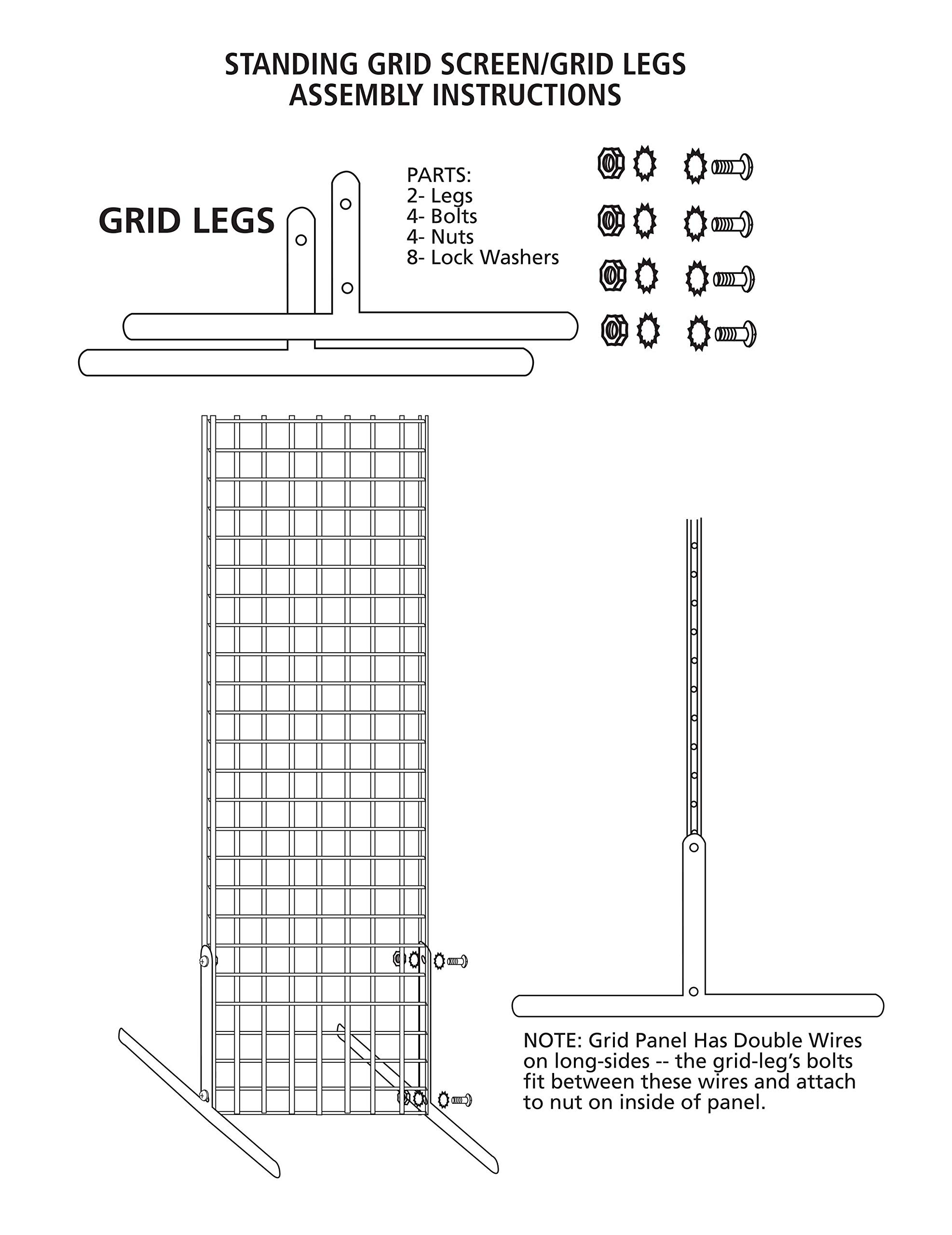 2 x 6 Foot Chrome Standing Grid Screen - Includes Grid Panel and 2 Grid Legs