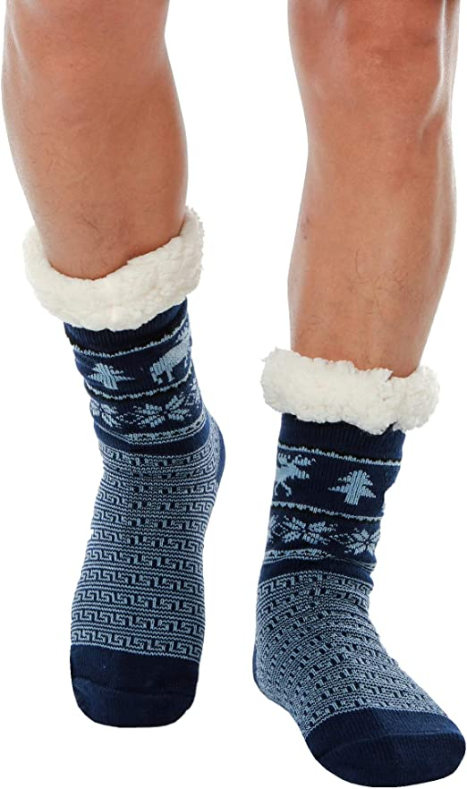 ciervos de invierno pesadas gruesas para Navidad suelas antideslizantes WYTartist Calcetines para hombre con forro polar y forro polar