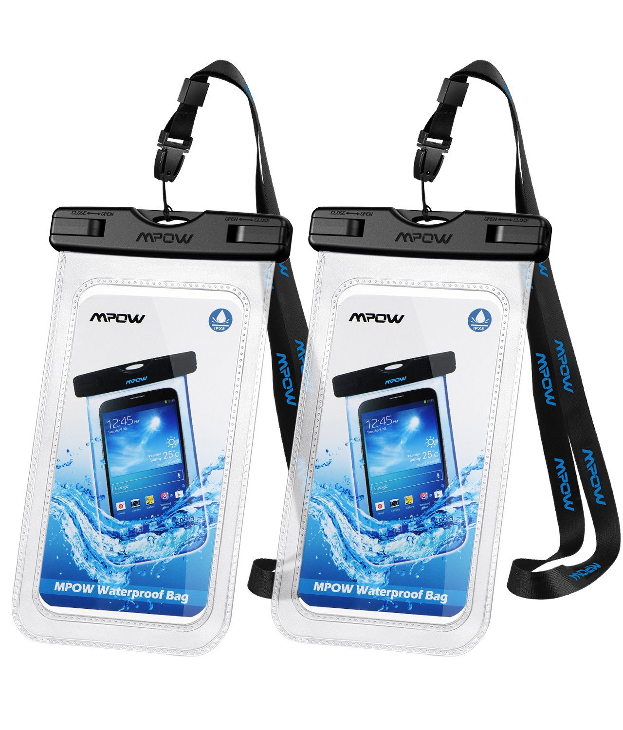 Mpow Universal Waterproof Case,IPX8 Waterproof Phone Pouch Underwater Dry  Bag Compatible with iPhone Xs/XS Max/XR/X/8/8 Plus/7/7 Plus, Galaxy