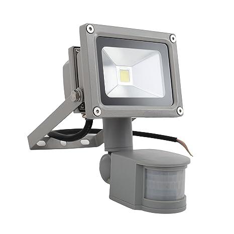 Briloner Leuchten – Lámpara LED – Foco de exteriores IP44 con detector de movimiento en níquel