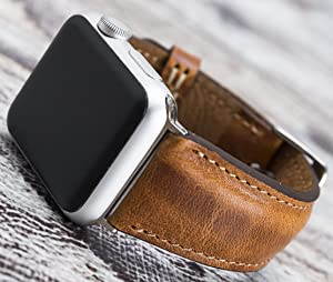 Distressed Matte Brown Leather Apple Watch Band 44mm 40mm for Series 5-1 iWatch Strap, Man or Women, Genuine Leather, High Quality, Bull Strap Customization Avaliable for Gift Items, HANDMADE