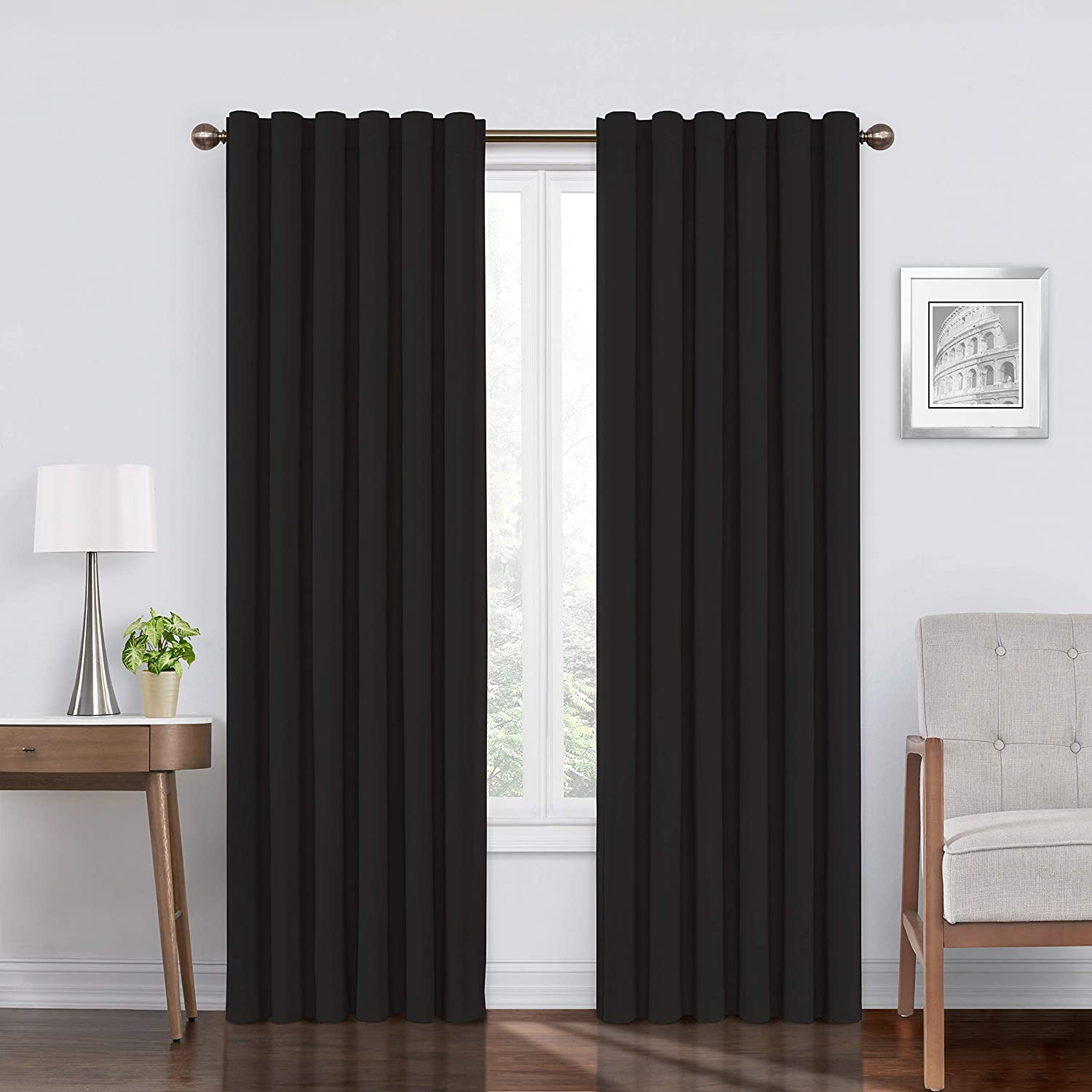"""ECLIPSE Bradley Thermal Insulated Single Panel Rod Pocket Darkening Curtains for Living Room, 50"""" x 84"""", Black"""