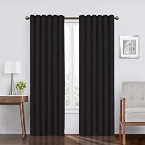 "ECLIPSE Bradley Thermal Insulated Single Panel Rod Pocket Darkening Curtains for Living Room, 50"" x 84"", Black"