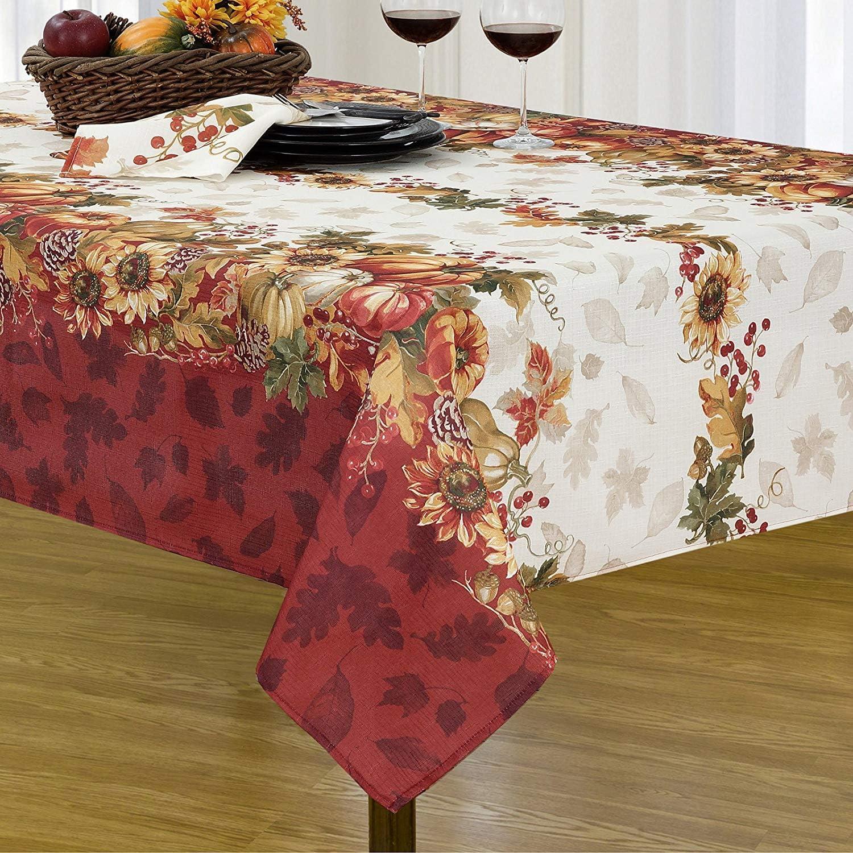 Harvest Swaying Leaves Double Border Autumn Thanksgiving Fabric Print Napkin Set Set of 8 Napkins