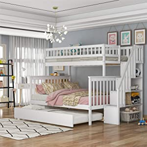 Bellemave Twin Over Full Bunk Bed with Trundle, Solid Wood Stairs Bunk Beds for Kids with Shelves,Convertible Kids' Adults Bunk Beds for Bedroom, Dorm,White
