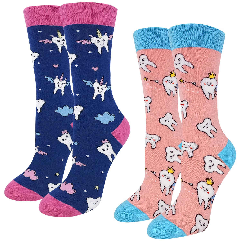 Women Funny Dental Teeth Crew Socks, Novelty Crazy Student Dentist Hygienist Gifts