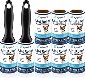 Lint Rollers for Pet Hair, Clothes, Furniture, Carpet, Couch, Extra Sticky Lint Remover, Travel Size Cat Dog Hair Lint Roll, 2 Handles+8 Roller Refills Pack, 64 Sheets/Roller (512 Sheets Total)
