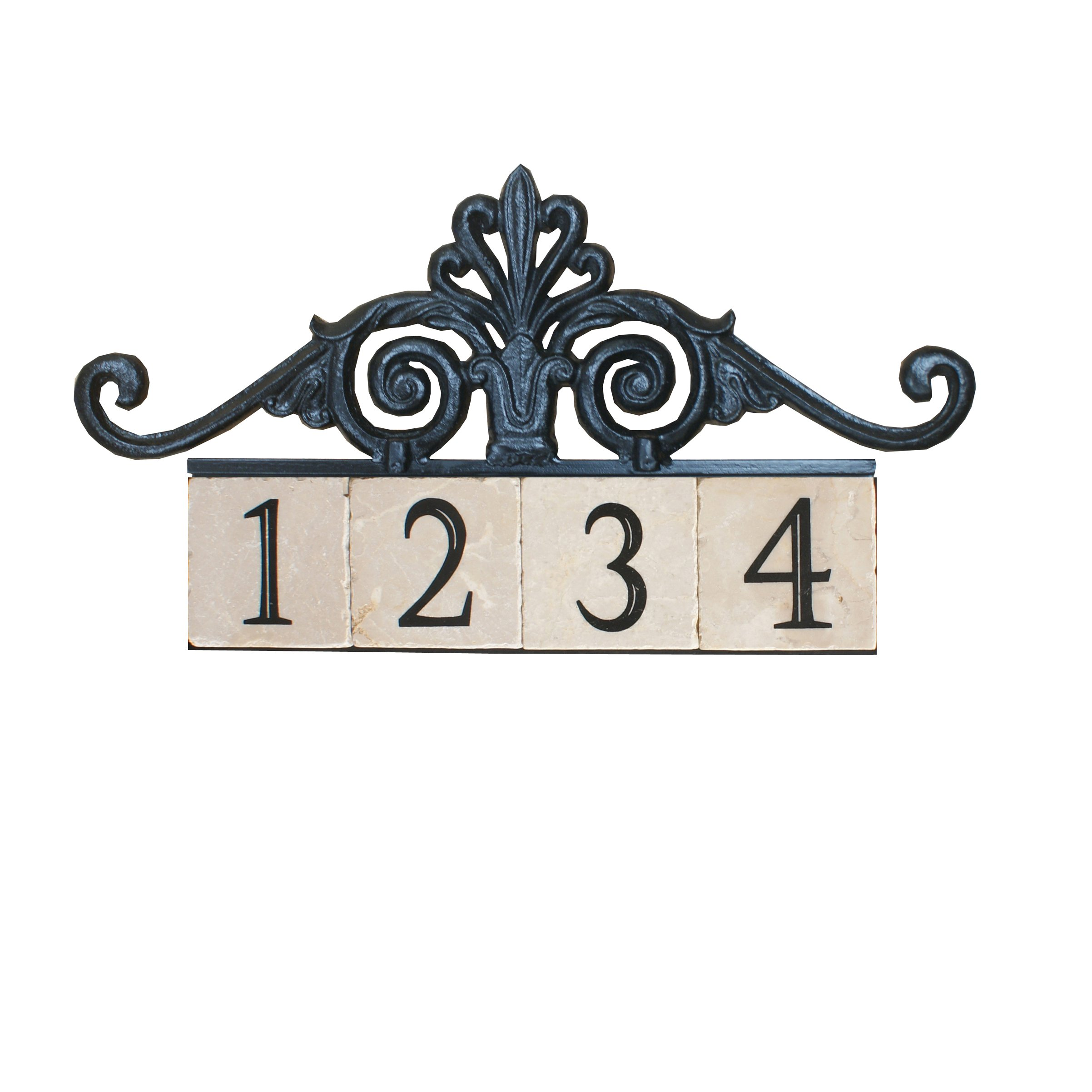NACH KA House Address Sign/Plaque - Royal Gate, 4 Numbers, Iron, 22 x 9 x 1''